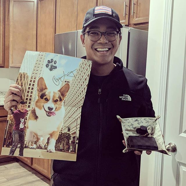 93ae31741 @genjithecorgi's dad repping Gatsby's signed calendar and the leather key  Valet! Thanks so much