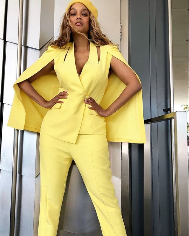 422d15a83539 International supermodel  tyrabanks styles our yellow suit for the Sports  Illustrated launch party this weekend